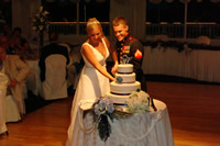 cake cutting at wedding reception